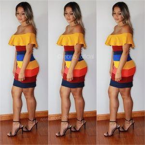 Hot Miami Styles Colorful Mini Stripe Mini Dress